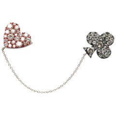 Hearts and Spades White Rose-Cut Diamonds Red&Black E-Coated Brooch