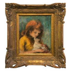 Heartwarming Vintage Painting of Girl with Cat in Giltwood Frame