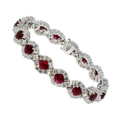 Heat Only African Ruby and Diamond Bracelet 18 Karat White Gold