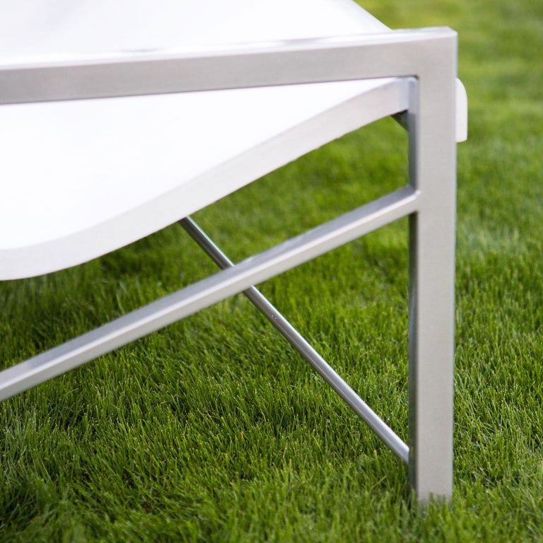 Heated Indoor/Outdoor Cast Stone Evia Chair, Custom Frame, Arctic White In New Condition For Sale In San Francisco, CA