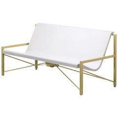 Heated Indoor/Outdoor Cast Stone Evia Lounge, Custom Frame, Arctic White