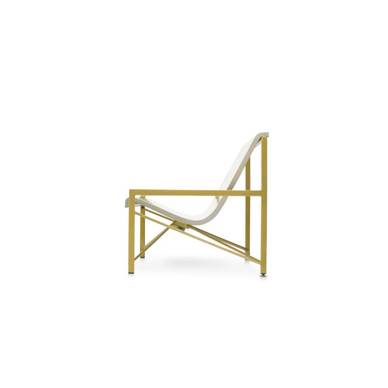 Modern Heated Indoor/Outdoor Cast Stone Evia Lounge, Custom Frame, Bone For Sale