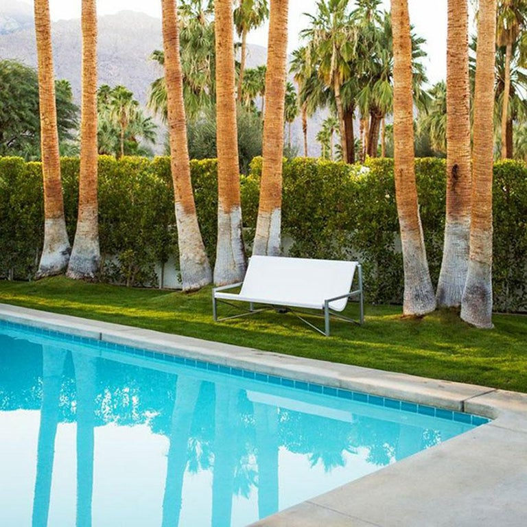 American Heated Indoor/Outdoor Cast Stone Evia Lounge, Custom Frame, Bone For Sale