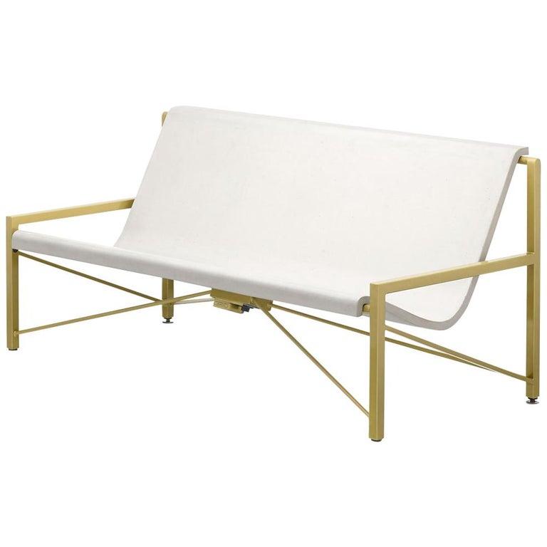 Heated Indoor/Outdoor Cast Stone Evia Lounge, Custom Frame, Bone For Sale