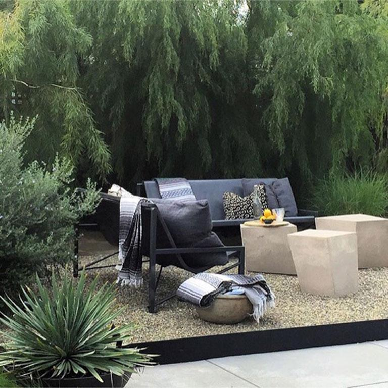 Heated Indoor/Outdoor Cast Stone Evia Lounge, Custom Frame, Charcoal In New Condition For Sale In San Francisco, CA