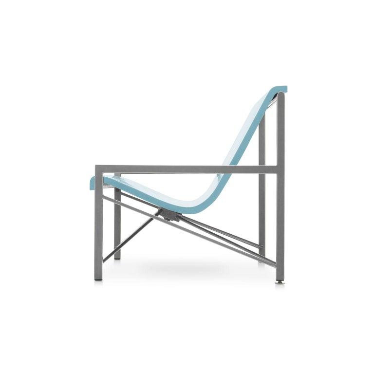 Modern Heated Indoor/Outdoor Cast Stone Evia Lounge, Custom Frame, Ocean For Sale
