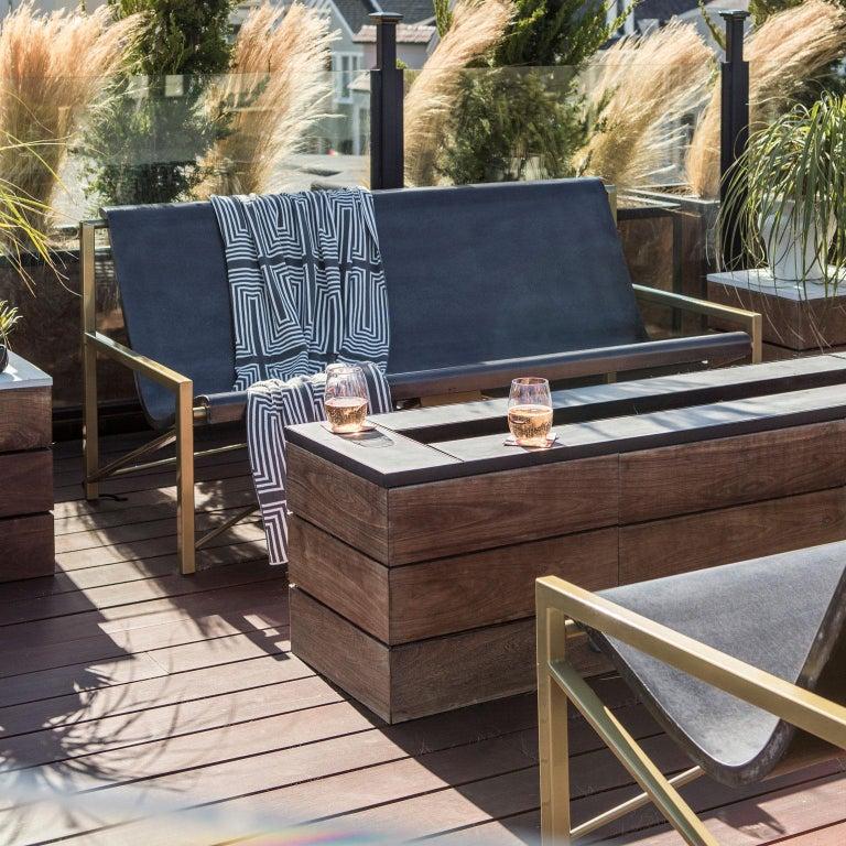 American Heated Indoor/Outdoor Cast Stone Evia Lounge, Custom Frame, Ocean For Sale