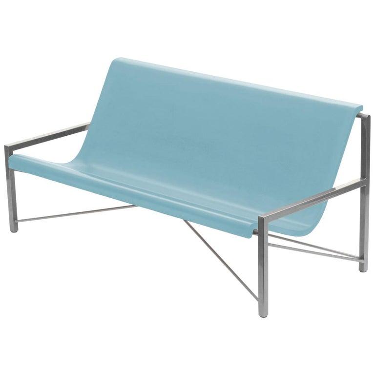 Heated Indoor/Outdoor Cast Stone Evia Lounge, Custom Frame, Ocean For Sale