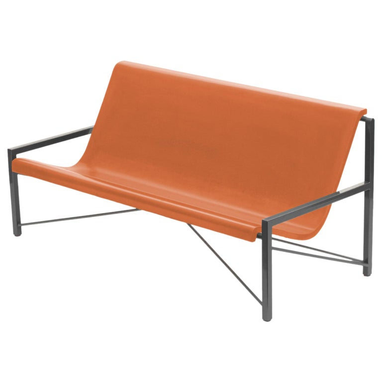 Heated Indoor/Outdoor Cast Stone Evia Lounge, Custom Frame, Orange For Sale