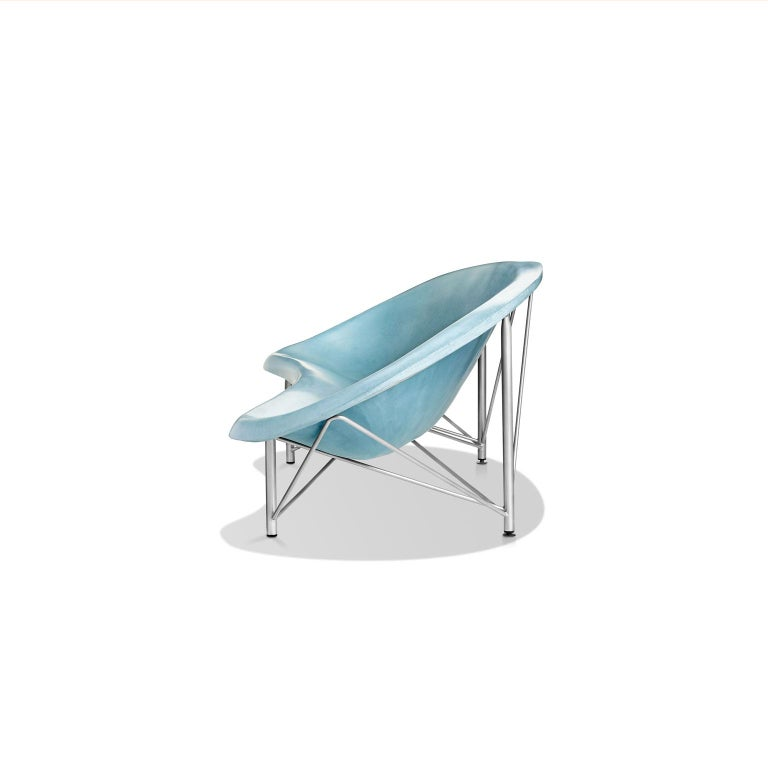 Modern Heated Indoor/Outdoor Cast Stone Helios Lounge with Custom Frame, Ocean For Sale