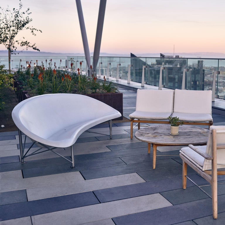 Heated Indoor/Outdoor Cast Stone Helios Lounge with Custom Frame, Ocean In New Condition For Sale In San Francisco, CA
