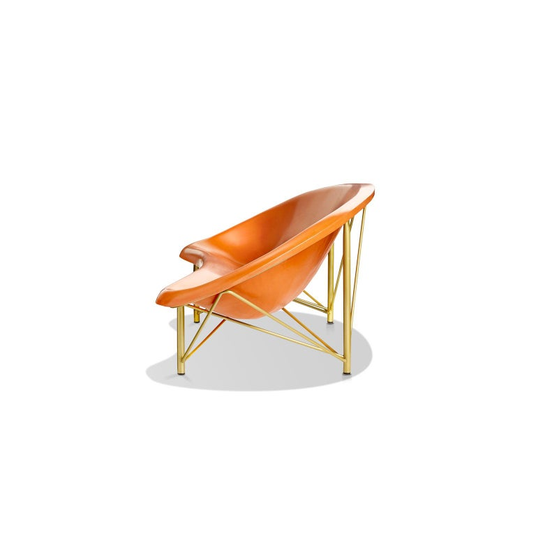 Modern Heated Indoor/Outdoor Cast Stone Helios Lounge with Custom Frame, Orange For Sale