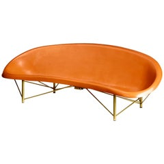 Heated Indoor/Outdoor Cast Stone Helios Lounge with Custom Frame, Orange