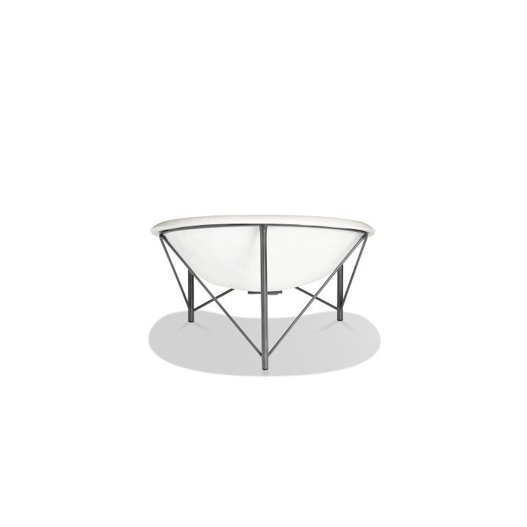 Modern Heated Indoor/Outdoor Cast Stone Helios Love Chair, Custom Frame, Arctic White For Sale