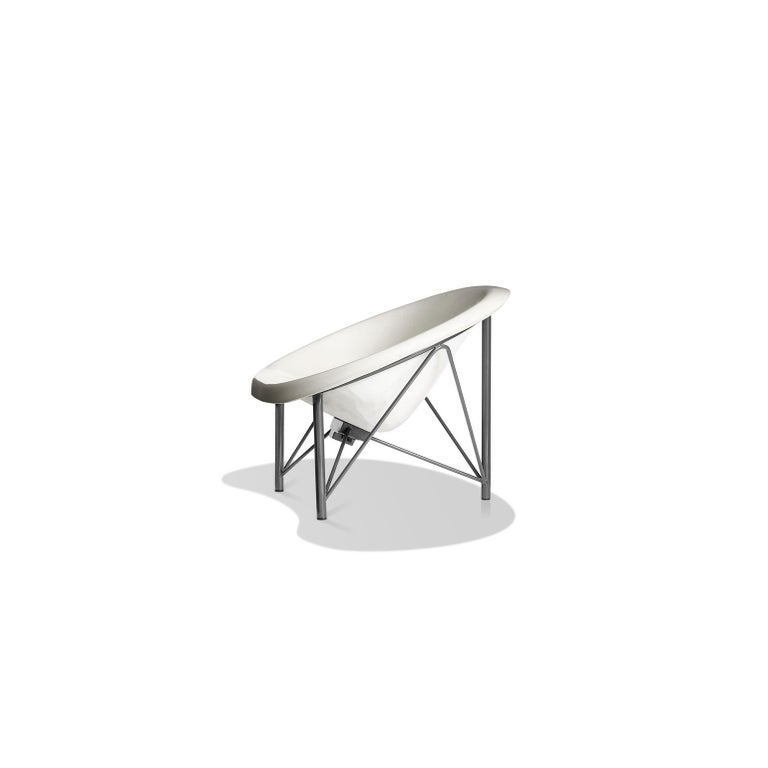 American Heated Indoor/Outdoor Cast Stone Helios Love Chair, Custom Frame, Arctic White For Sale