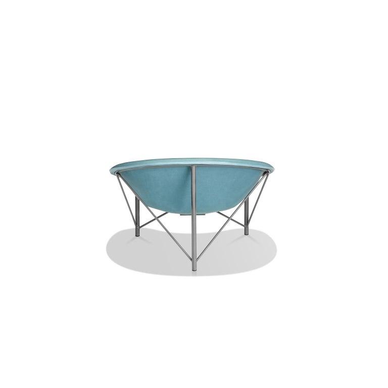 Modern Heated Indoor/Outdoor Cast Stone Helios Love Chair, Custom Frame, Ocean For Sale