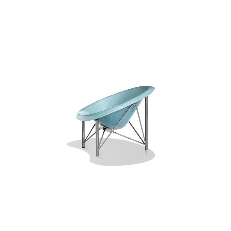 American Heated Indoor/Outdoor Cast Stone Helios Love Chair, Custom Frame, Ocean For Sale