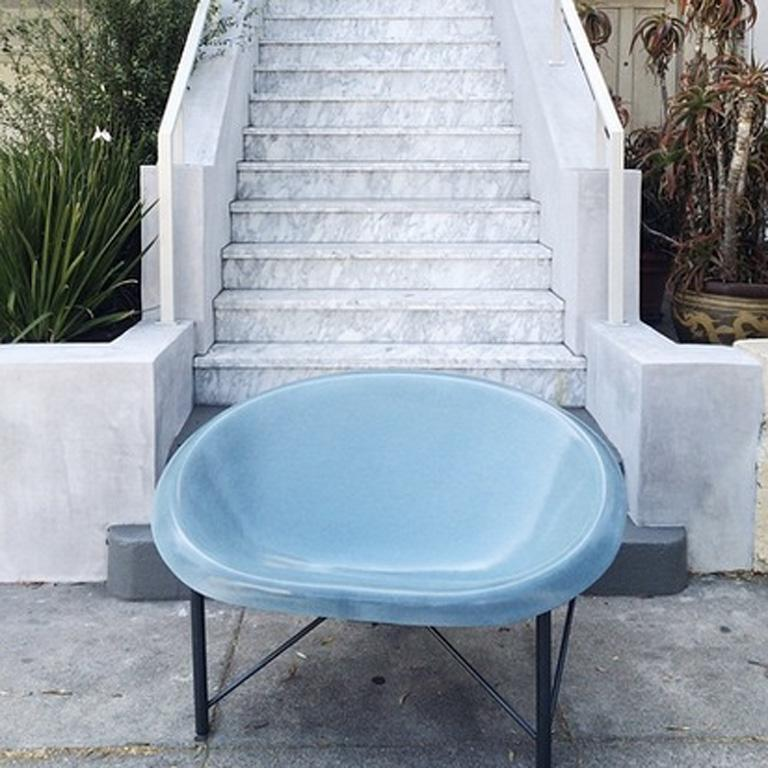 Heated Indoor/Outdoor Cast Stone Helios Love Chair, Custom Frame, Ocean In New Condition For Sale In San Francisco, CA