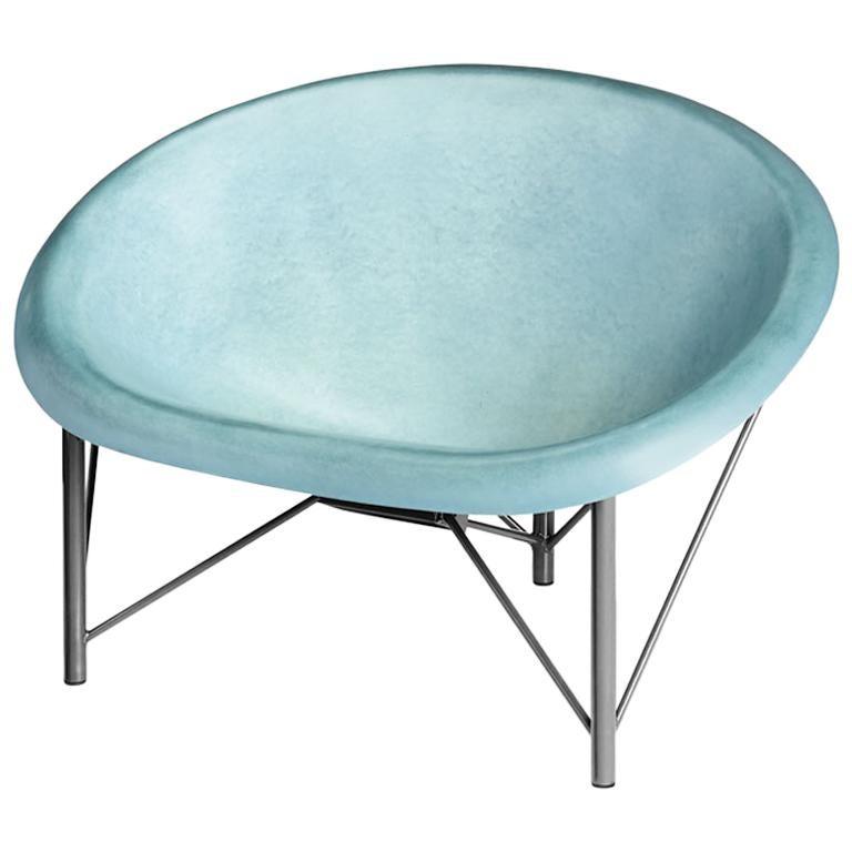 Heated Indoor/Outdoor Cast Stone Helios Love Chair, Custom Frame, Ocean For Sale