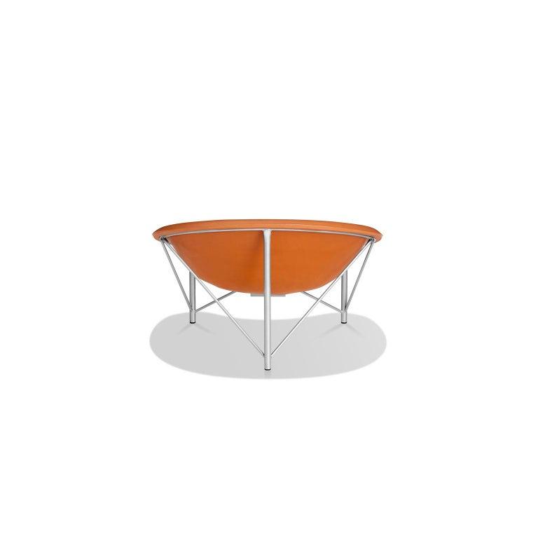 Modern Heated Indoor/Outdoor Cast Stone Helios Love Chair, Custom Frame, Orange For Sale