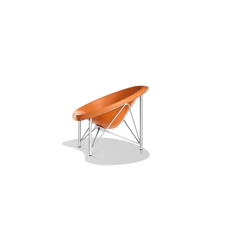 American Heated Indoor/Outdoor Cast Stone Helios Love Chair, Custom Frame, Orange For Sale