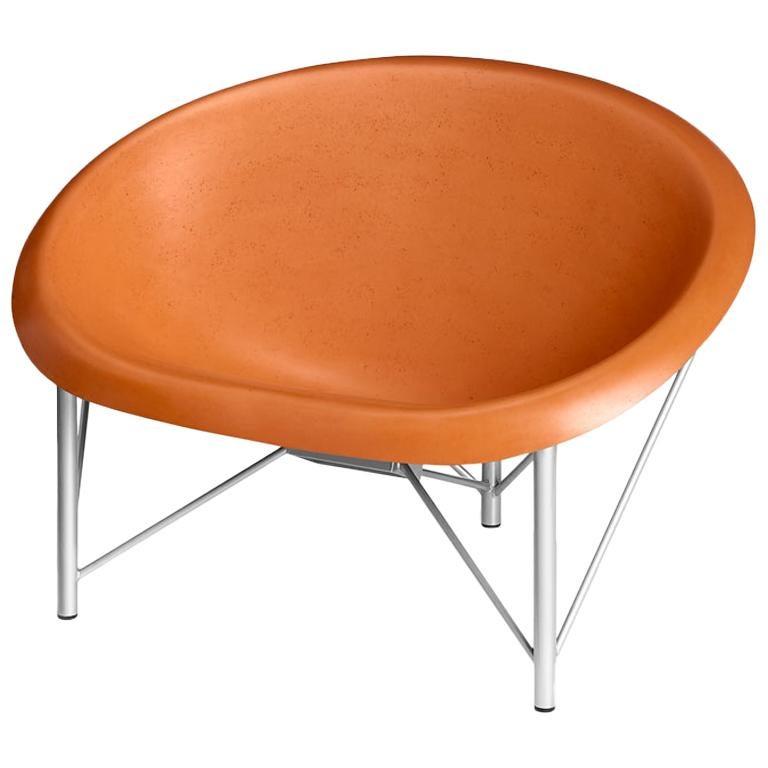 Heated Indoor/Outdoor Cast Stone Helios Love Chair, Custom Frame, Orange For Sale
