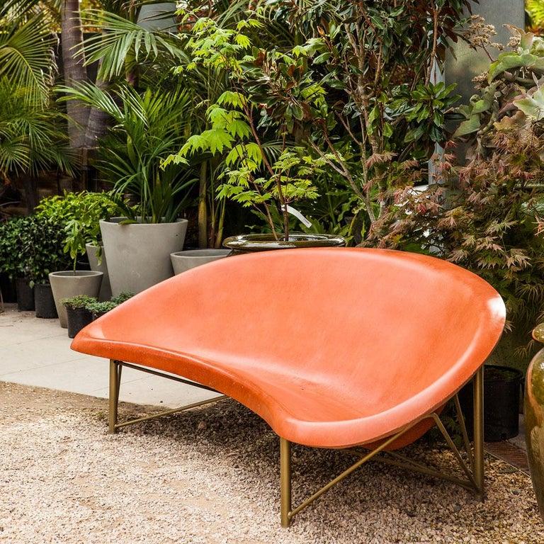 Modern Heated Indoor/Outdoor Cast Stone Helios Metreo, Custom Frame, Orange For Sale