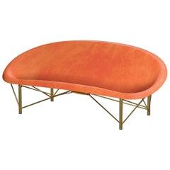 Heated Indoor/Outdoor Cast Stone Helios Metreo, Custom Frame, Orange
