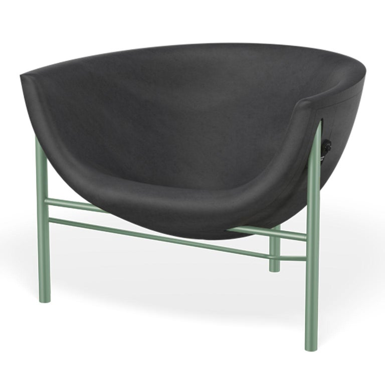 Philippine Heated Indoor/Outdoor Cast Stone Kosmos Chair with Custom Frame, Charcoal For Sale