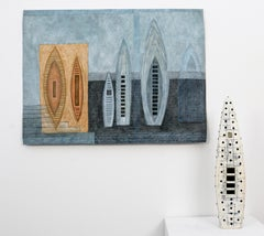 Sounding IV - narrative of journey and change, mixed media, tapestry and vessel