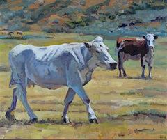 """""""Burning Mountain Cows,"""" Oil on Board signed by Heather Foster"""