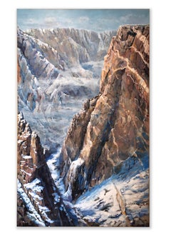 Painted Wall Snow (Black Canyon, CO, steep multi-colored rock, light snowfall)