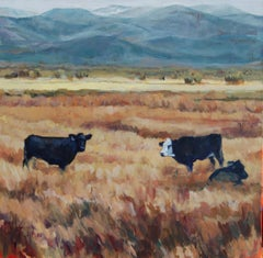 Salida Three (Contemporary western Fall landscape with cows & mountain horizon.)