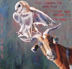 The Wise Owl & the Old Goat (animals, allegory, whimsy, green-blue, tan, red)