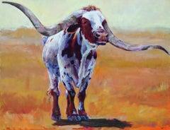 Tucumcari with a Twist (Texas Longhorn, chestnut/white, golden grass, soft sky)