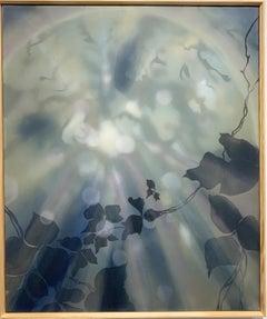 Creeping and Climbing - Blue, Navy, Painting of Light, Nature, Kudzu Vines