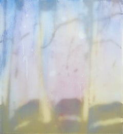 Window V - Contemporary Abstract Mixed Media Painting, shadow, curtains, blue