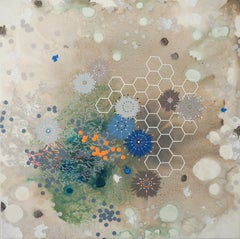 Flourish - beige abstract contemporary painting and mixed media on panel