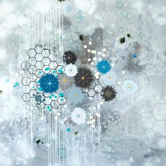 Habitation - blue abstract contemporary painting and mixed media on panel
