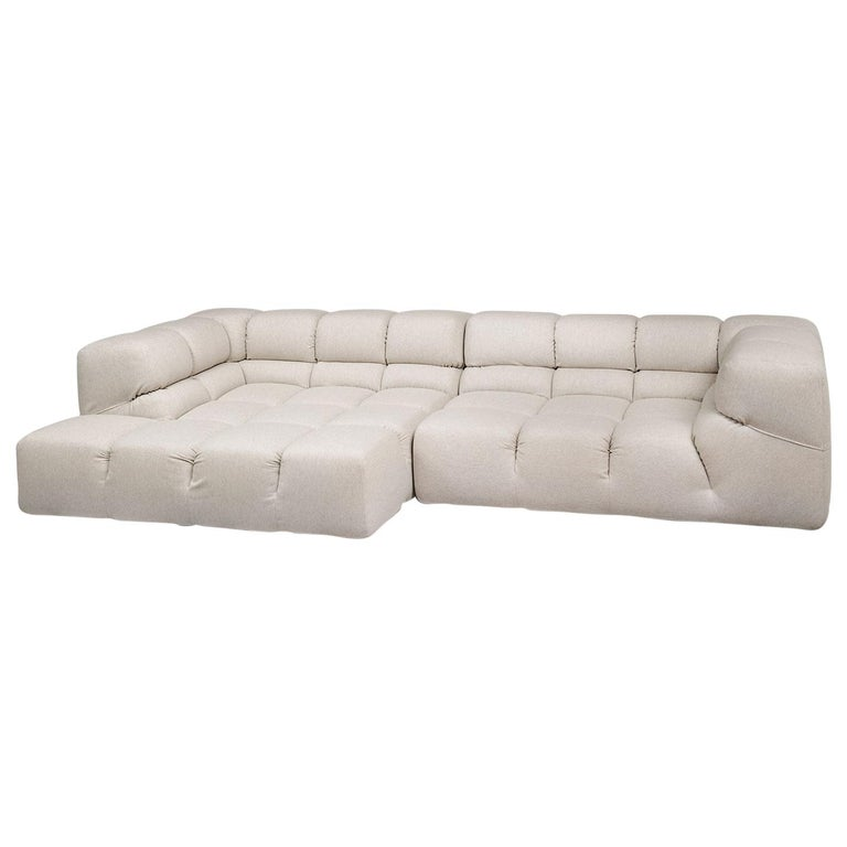 Heathered Ivory Wool Blend Upholstered Tufty-Time Sectional, B&B Italia For Sale