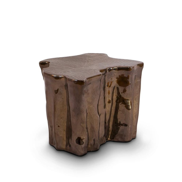 Contemporary Heaven Black Ceramic Side Table For Sale