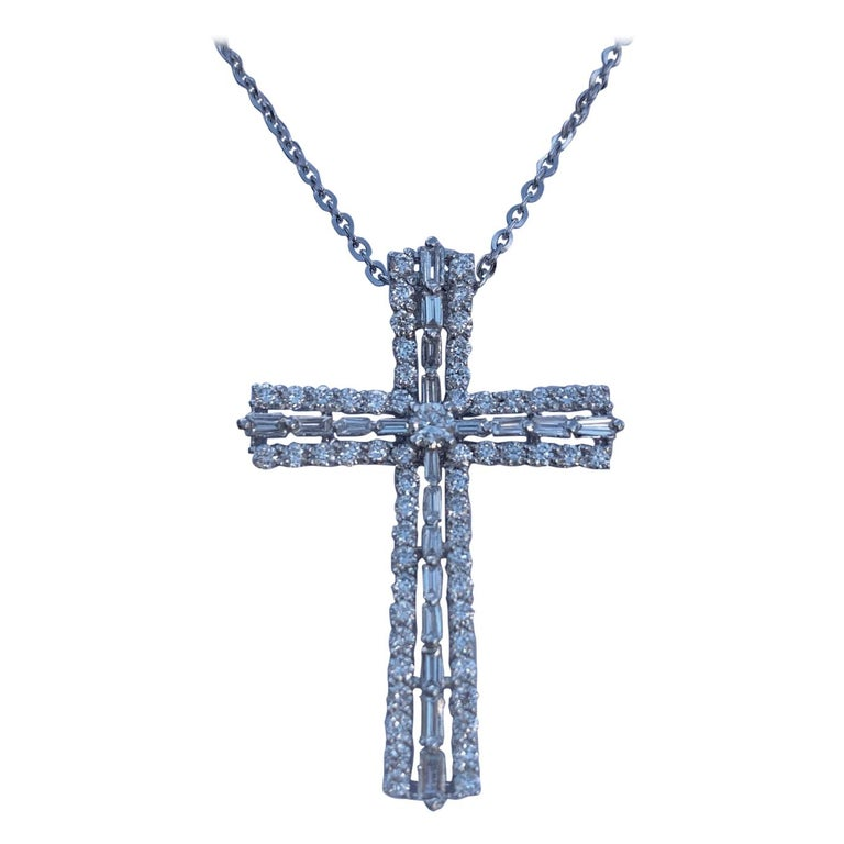 Heavenly 1.25 Carat Diamond Cross Pendant in 18K White Gold on White Gold Chain For Sale
