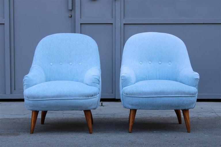Heavenly Mid-Century Italian Design Pair of Small Armchairs Gio Ponti Style 6