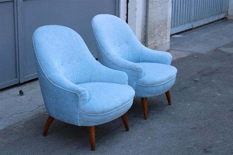 Heavenly Mid-Century Italian Design Pair of Small Armchairs Gio Ponti Style 7