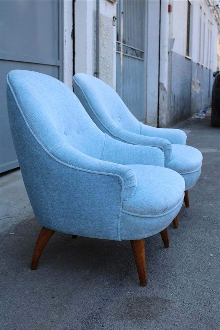 Heavenly Mid-Century Italian Design Pair of Small Armchairs Gio Ponti Style 8