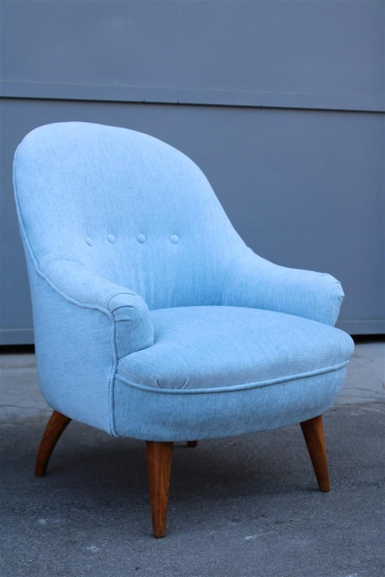 Heavenly Mid-Century Italian Design Pair of Small Armchairs Gio Ponti Style In Good Condition In Palermo, Sicily