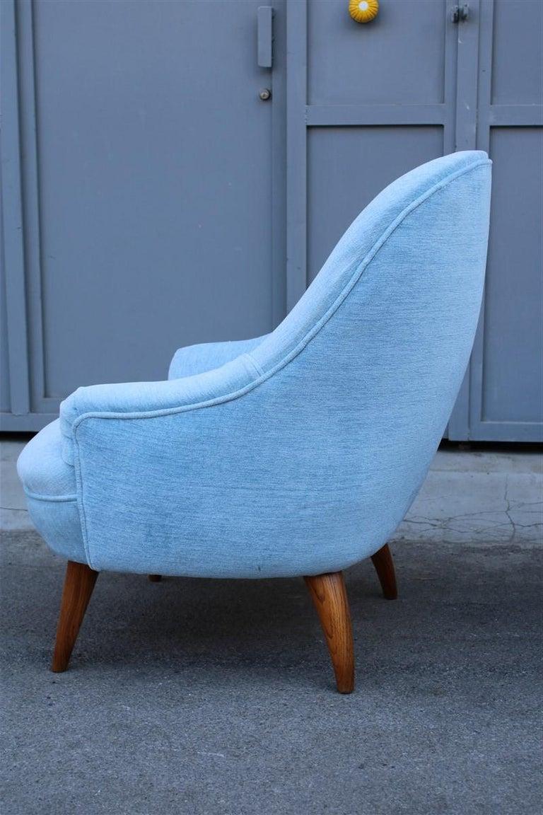 Velvet Heavenly Mid-Century Italian Design Pair of Small Armchairs Gio Ponti Style