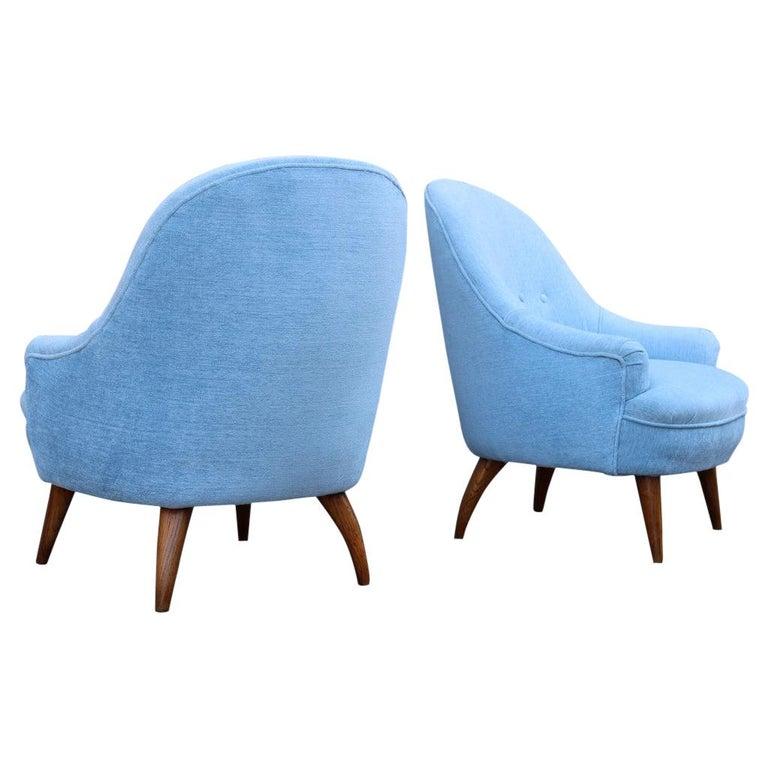Heavenly Mid-Century Italian Design Pair of Small Armchairs Gio Ponti Style