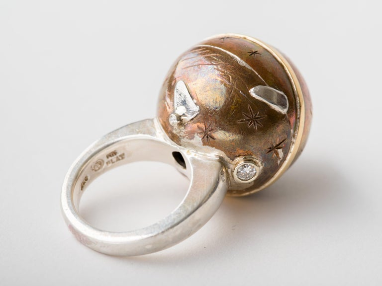 Heavenly Sphere Bronze Silver Platinum & Gold Ring by Mark Timmerman In New Condition For Sale In New York, NY