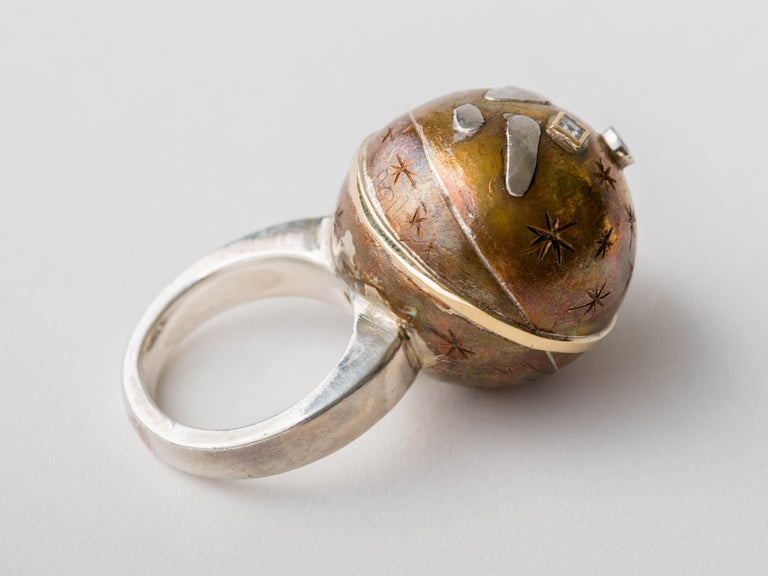 Women's or Men's Heavenly Sphere Bronze Silver Platinum & Gold Ring by Mark Timmerman For Sale